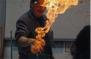 Mr Kuntz with his freaking hand on fire