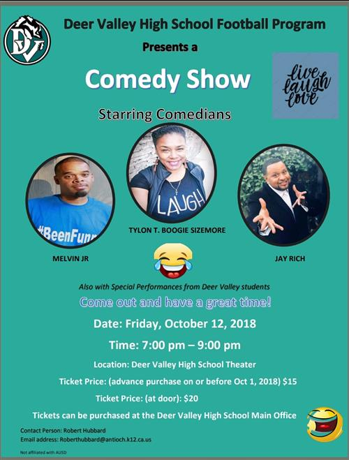 Come and Support the Football team and get your laugh on!