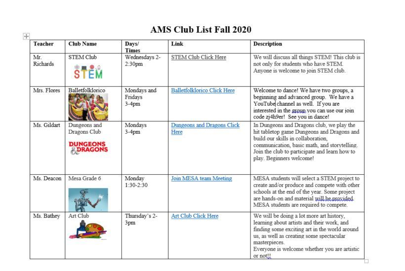 After School Clubs and Tutoring Schedule