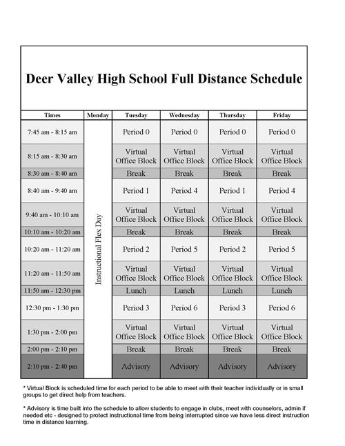 2020-2021 Bell Schedule - Full Distance