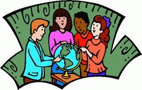 People w/Globe Clipart
